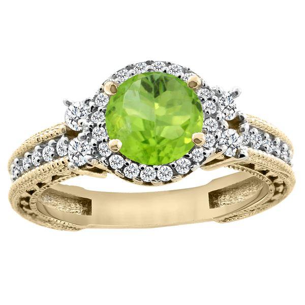 1.46 CTW Peridot & Diamond Ring 14K Yellow Gold - REF-77V8R