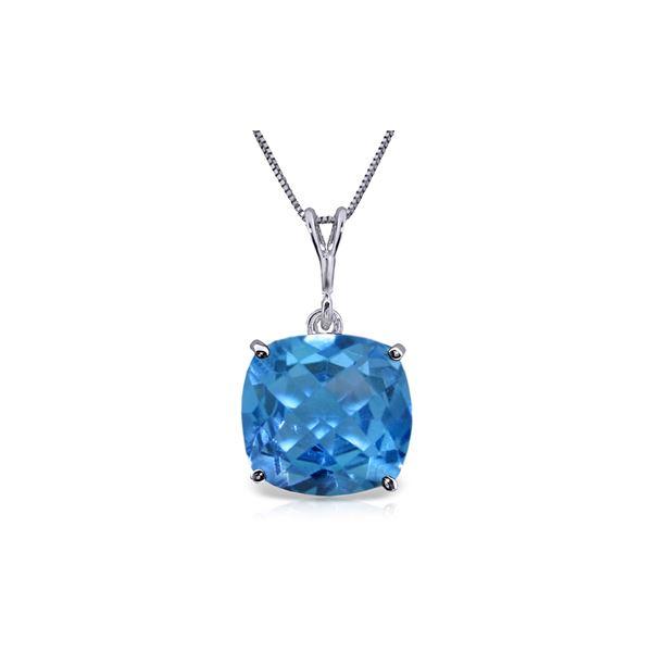 Genuine 3.6 ctw Blue Topaz Necklace 14KT White Gold - REF-28P9H