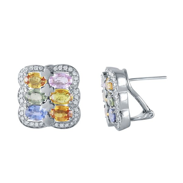 Natural 7.66 CTW Multi-Sapphire & Diamond Earrings W=5MM 18K Gold - REF-197K3R