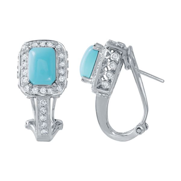 Natural 3.31 CTW Turquoise & Diamond Earrings 14K White Gold - REF-101N7Y
