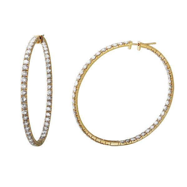 8.4 CTW White Round Diamond Hoop  Earring 14K Yellow Gold - REF-881N8A