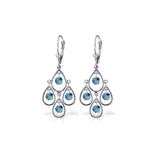 Genuine 2.4 ctw Blue Topaz Earrings 14KT White Gold - REF-54N9R