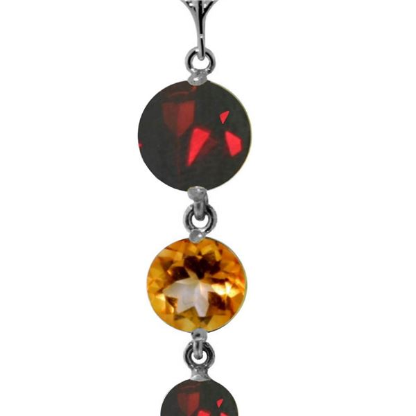 Genuine 3.9 ctw Garnet & Citrine Necklace 14KT White Gold - REF-23N5R
