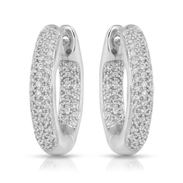 0.72 CTW White Round Diamond Hoop Earring 14K White Gold - REF-118M2H