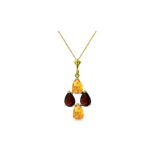 Genuine 1.50 ctw Citrine & Garnet Necklace 14KT Yellow Gold - REF-20X4M