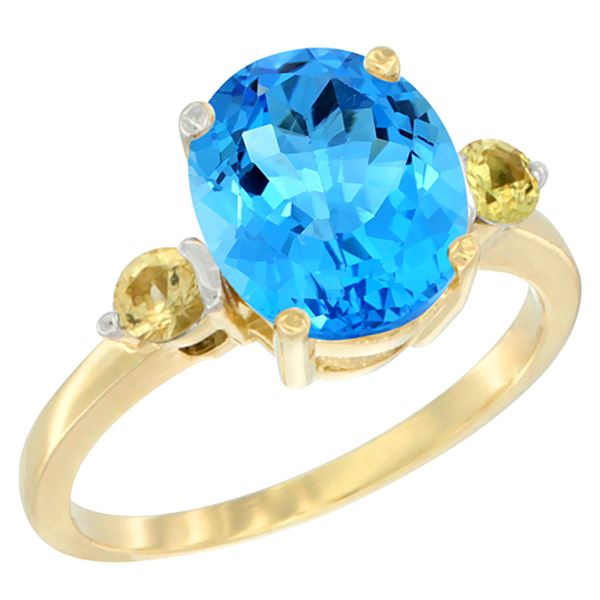 2.64 CTW Swiss Blue Topaz & Yellow Sapphire Ring 14K Yellow Gold - REF-32M3A