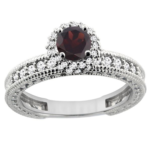 0.95 CTW Garnet & Diamond Ring 14K White Gold - REF-65M9A