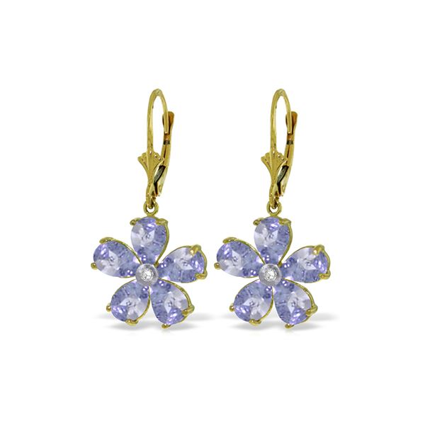 Genuine 4.43 ctw Tanzanite & Diamond Earrings 14KT Yellow Gold - REF-79M3T