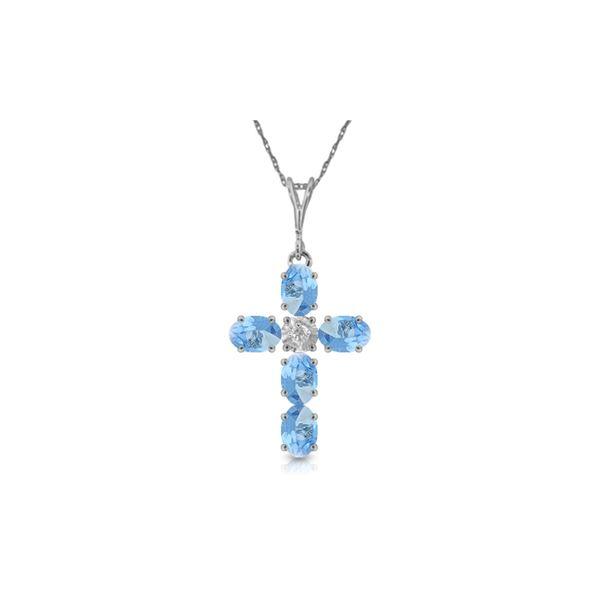 Genuine 1.75 ctw Blue Topaz & Diamond Necklace 14KT White Gold - REF-39F8Z