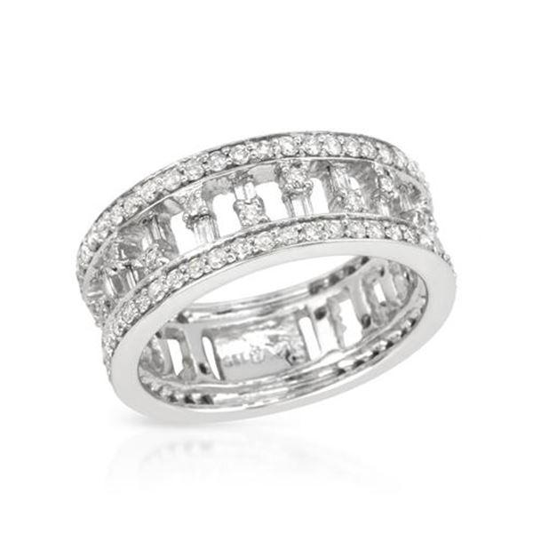 Natural 1.15 CTW Diamond & Baguette Ring 14K White Gold - REF-126F9M