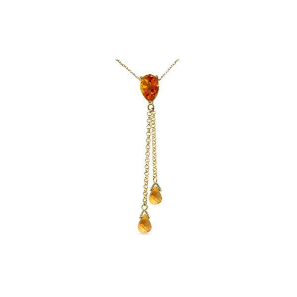 Genuine 3.75 ctw Citrine Necklace 14KT Yellow Gold - REF-23N5R