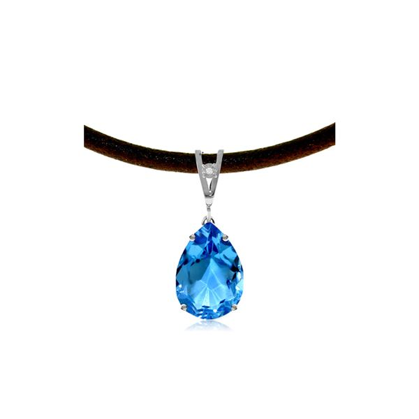 Genuine 6.01 ctw Blue Topaz & Diamond Necklace 14KT White Gold - REF-32F3Z