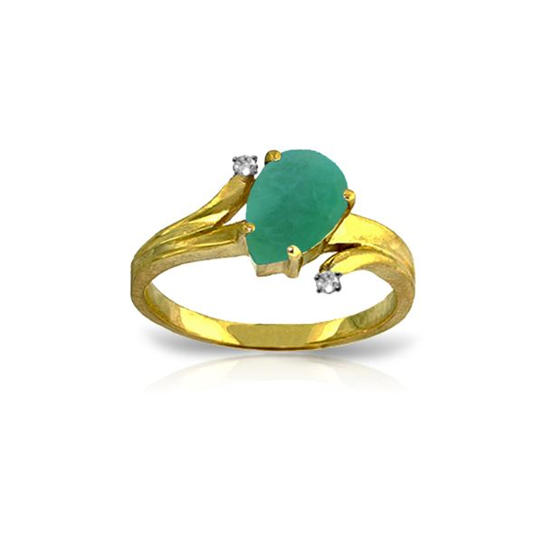 Genuine 1.01 ctw Emerald & Diamond Ring 14KT Yellow Gold - REF-56N2R