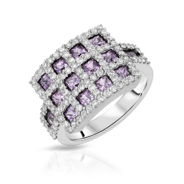 Natural 2.40 CTW Pink Sapphire & Diamond Ring 14K White Gold - REF-107W3H