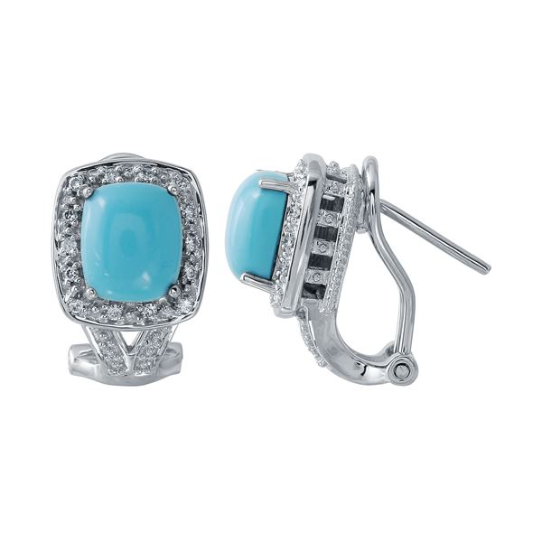 Natural 2.47 CTW Turquoise & Diamond Earrings 14K White Gold - REF-55T8X