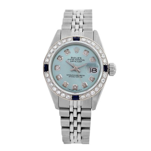 Rolex Pre-owned 26mm Womens Custom Light Blue Stainless Steel