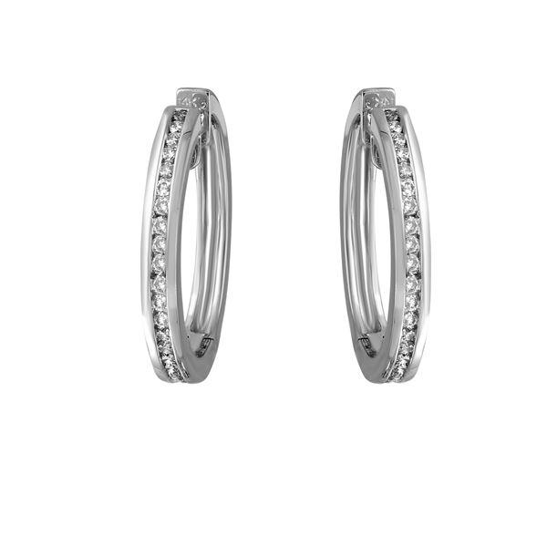 1.82 CTW White Round Diamond Hoop  Earring 14K White Gold - REF-163A6V