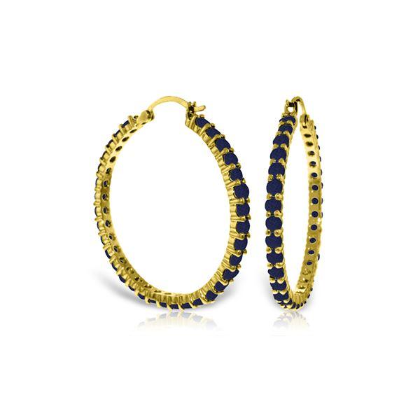 Genuine 6 ctw Sapphire Earrings 14KT Yellow Gold - REF-125W6Y