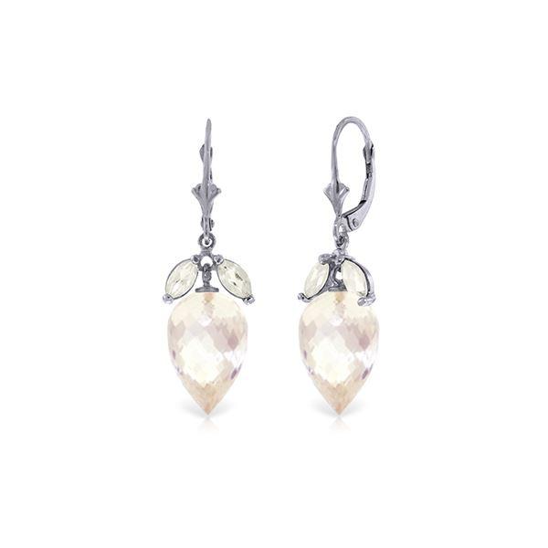 Genuine 25.5 ctw White Topaz Earrings 14KT White Gold - REF-63V8W