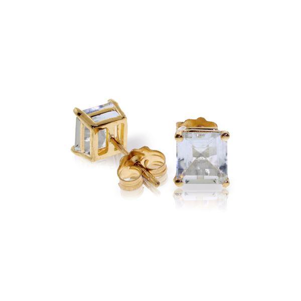Genuine 1.75 ctw Aquamarine Earrings 14KT White Gold - REF-29H2X