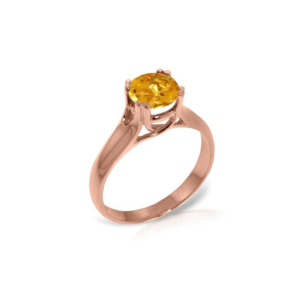 Genuine 1.10 ctw Citrine Ring 14KT Rose Gold - REF-57T3A