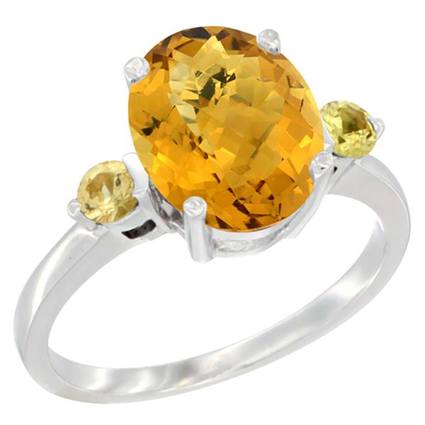 2.64 CTW Quartz & Yellow Sapphire Ring 10K White Gold - REF-23V7R
