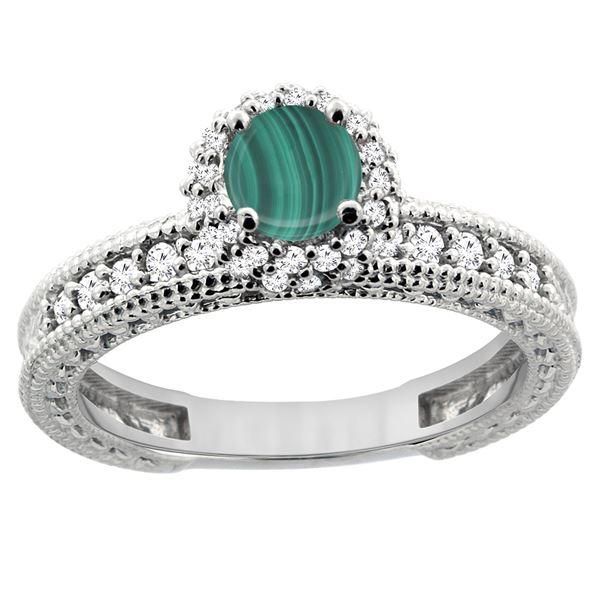 1.71 CTW Malachite & Diamond Ring 14K White Gold - REF-66H2M