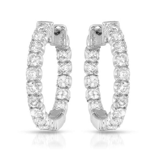 1.87 CTW White Round Diamond Hoop Earring 14K White Gold - REF-181V8T