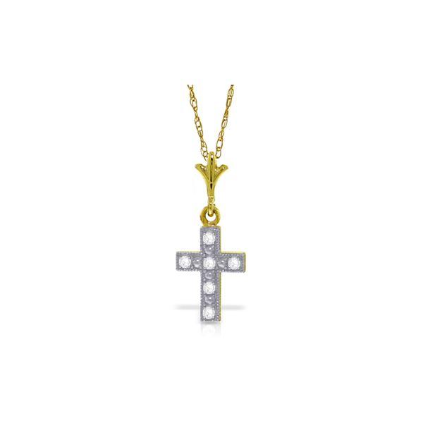Genuine 0.03 ctw Diamond Anniversary Necklace 14KT Yellow Gold - REF-20P3H