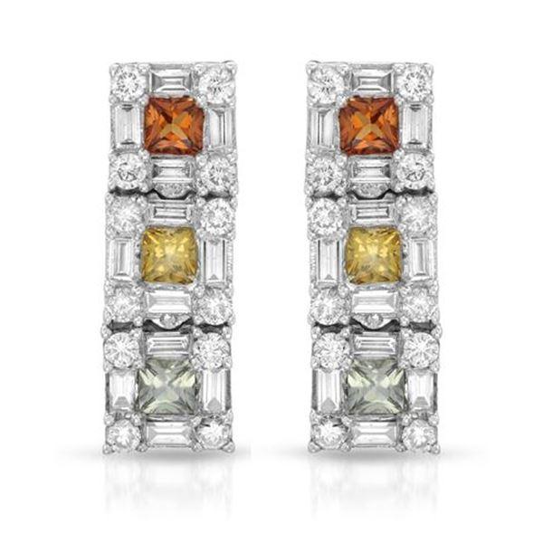 Natural 2.77 CTW Diamond & Baguette Earring 14K White Gold - REF-181F8M