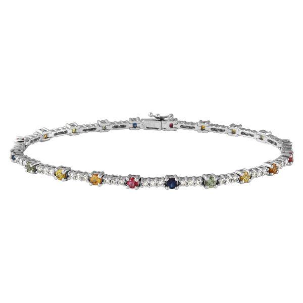 Natural 3.23 CTW Multi-Sapphire & Diamond Bracelet 14K White Gold - REF-127T8X