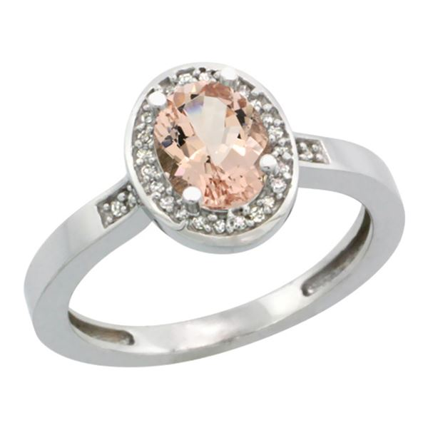 0.82 CTW Morganite & Diamond Ring 10K White Gold - REF-34V3R