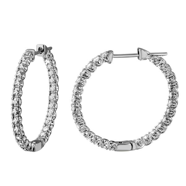 1.79 CTW White Round Diamond Hoop Earring 14K White Gold - REF-190M9H
