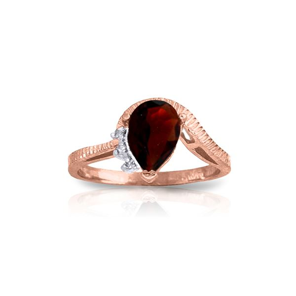 Genuine 1.52 ctw Garnet & Diamond Ring 14KT Rose Gold - REF-51M4T