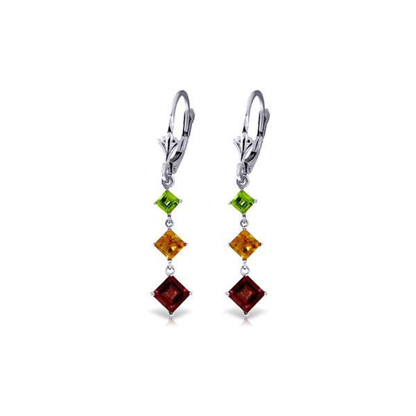 Genuine 4.8 ctw Garnet, Citrine & Peridot Earrings 14KT White Gold - REF-49Y3F