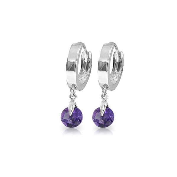 Genuine 1.50 ctw Amethyst Earrings 14KT White Gold - REF-25V8W