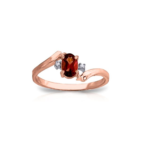 Genuine 0.46 ctw Garnet & Diamond Ring 14KT Rose Gold - REF-28Y3F