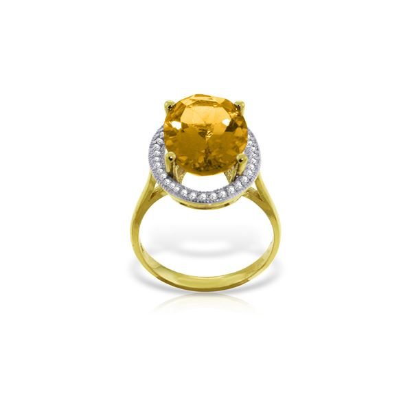 Genuine 5.28 ctw Citrine & Diamond Ring 14KT Yellow Gold - REF-83H3X
