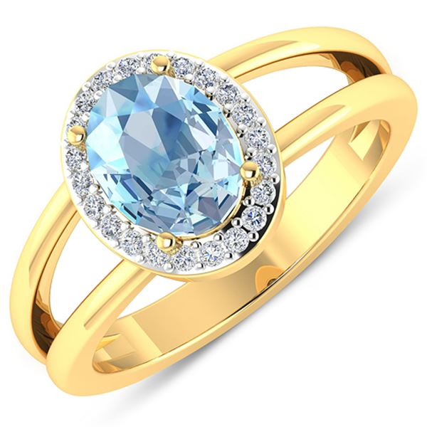 Natural 1.62 CTW Aquamarine & Diamond Ring 14K Yellow Gold - REF-66M9T