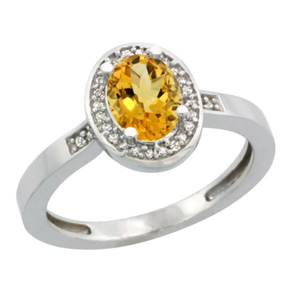 1.15 CTW Citrine & Diamond Ring 14K White Gold - REF-37M9A