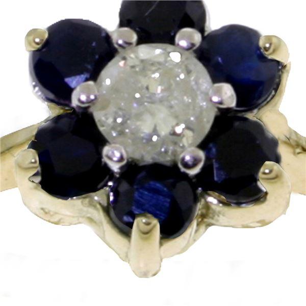Genuine 0.50 ctw Sapphire & Diamond Ring 14KT Yellow Gold - REF-42H2X