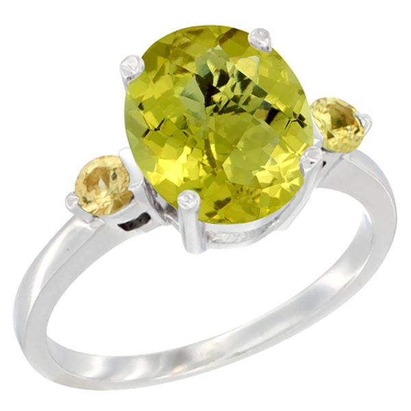 2.64 CTW Lemon Quartz & Yellow Sapphire Ring 10K White Gold - REF-23W7F