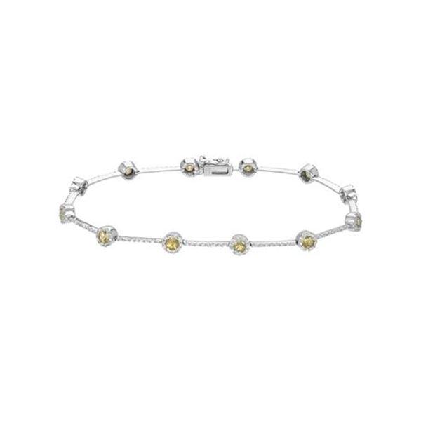 Natural 2.41 CTW Yellow Sapphire & Diamond Bracelet W=4MM 14K Gold - REF-120T6X