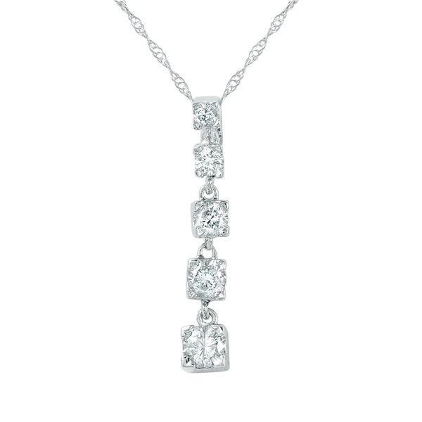 Natural 0.50 CTW Diamond Necklace 14K White Gold - REF-67F5M