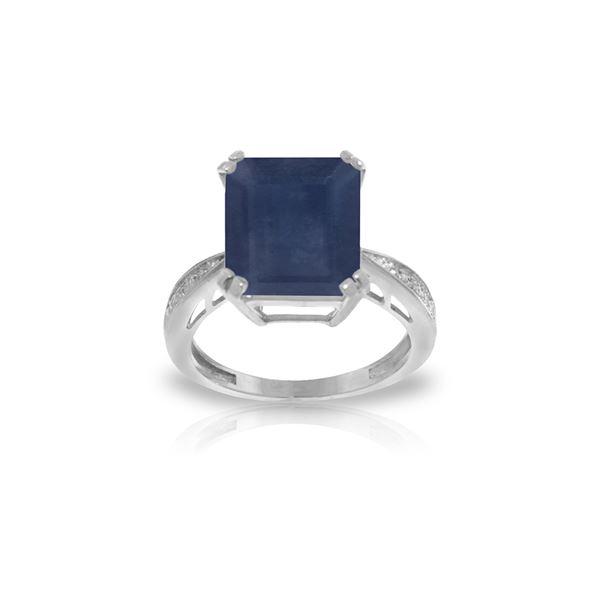 Genuine 7.27 ctw Sapphire & Diamond Ring 14KT White Gold - REF-120Z2N