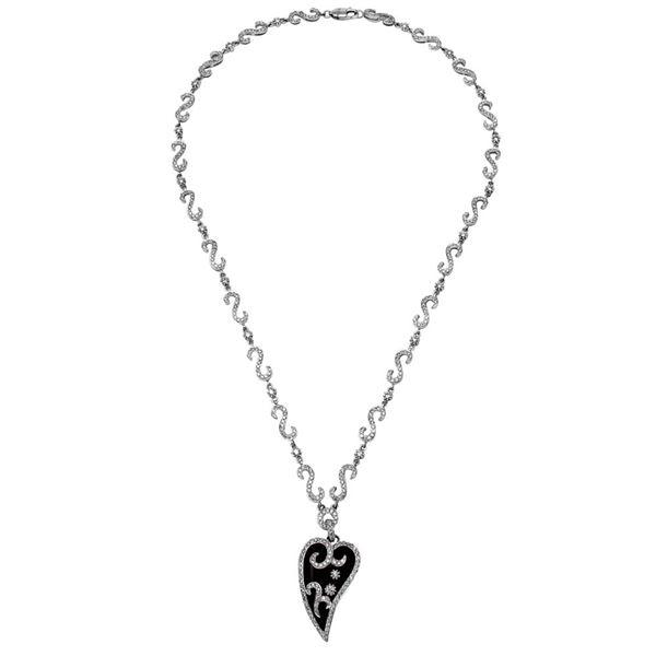 Natural 7.71 CTW Onyx & Diamond Necklace 14K White Gold - REF-296T3X