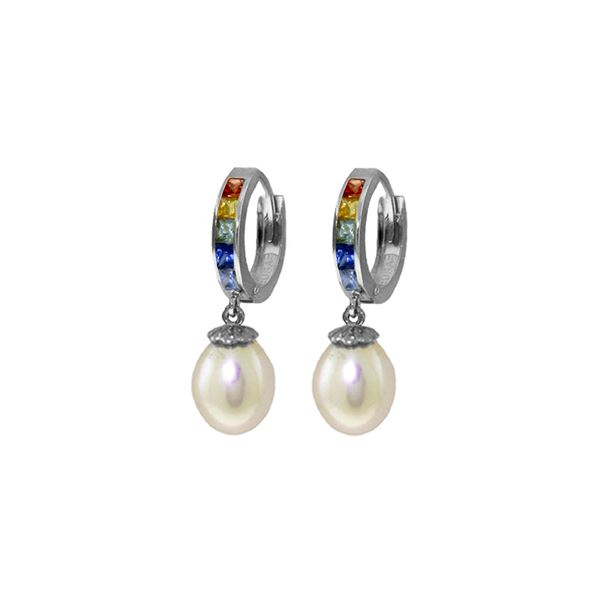 Genuine 9.3 ctw Multi-Color Sapphire & Pearl Earrings 14KT White Gold - REF-48R4P