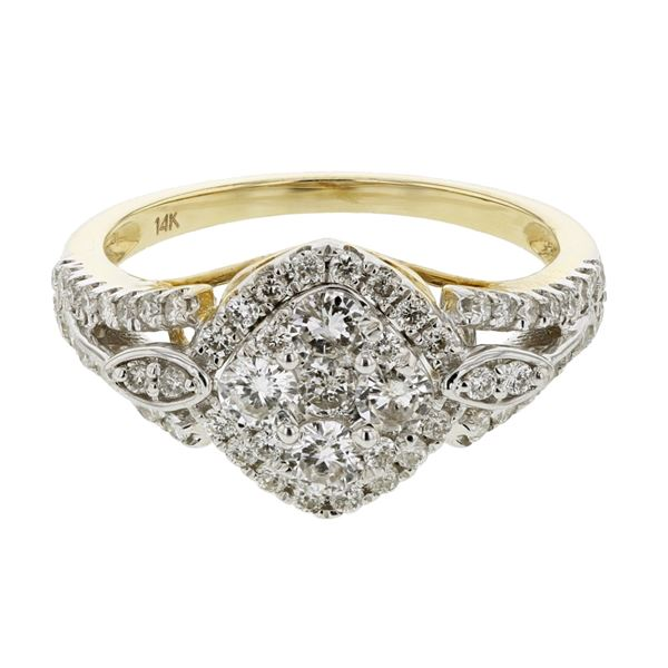Natural 0.95 CTW Diamond Ring 14K Yellow Gold - REF-113W4H