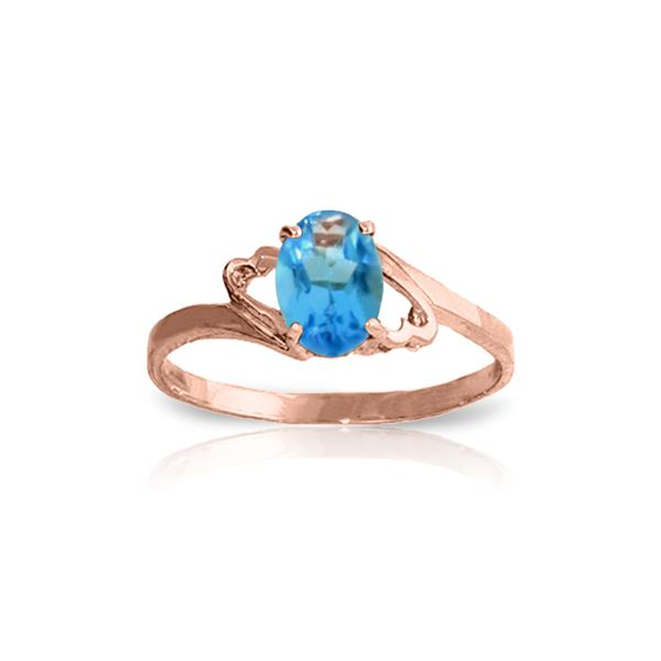 Genuine 0.95 ctw Blue Topaz Ring 14KT Rose Gold - REF-20F5Z
