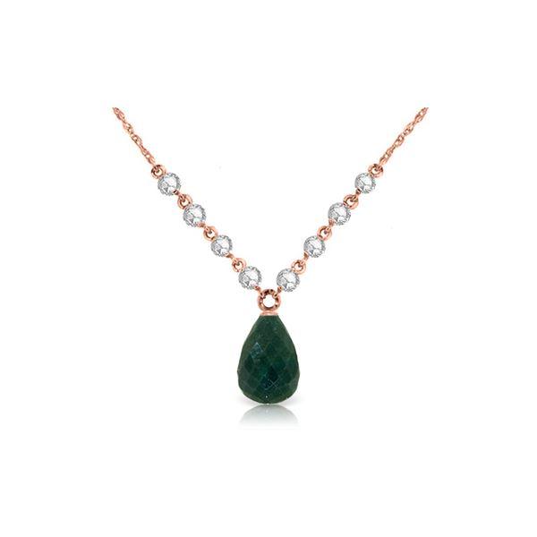 Genuine 15.6 ctw Green Sapphire Corundum & Diamond Necklace 14KT Rose Gold - REF-139Y8F